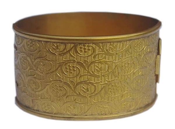 Vintage 1920s Wide Floral gold tone Bangle