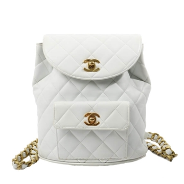 Chanel Double Plate Matelasse white leather vintage Rucksack