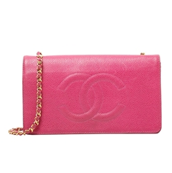 Chanel caviar leather Coco logo chain pink wallet bag
