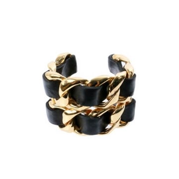 Chanel Big Chain Design black vintage Bangle bracelet