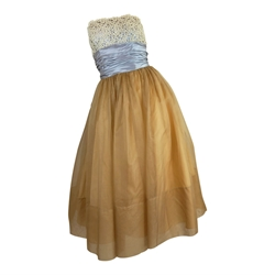 1950s Strapless Vintage nude & blue Party Dress