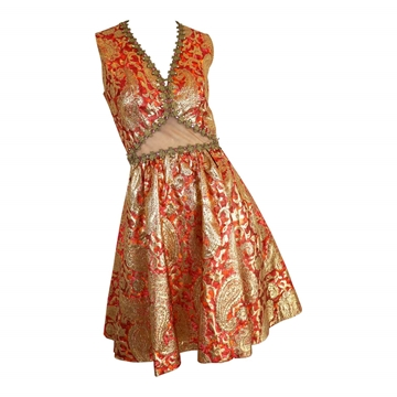 1960s Brocade  Gold & Red Cocktail Dress