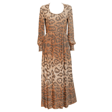 ADELE SIMPSON 1970s  Leopard Lurex Vintage Evening Dress