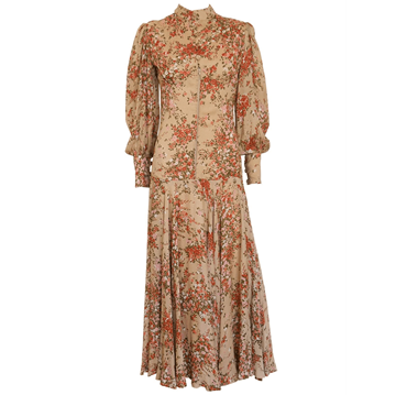 CHRISTIAN DIOR Diorling 1970s floral vintage Maxi Evening Dress