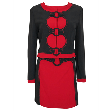 "MOSCHINO 1990s 3 piece ""Hoop"" red & black vintage Skirt Suit"
