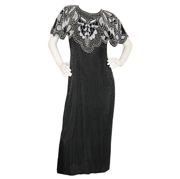 LOUIS FÉRAUD 1980s Sequined Beaded black vintage Evening Dress