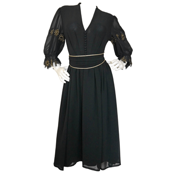 ULI RICHTER 1960s 1970s crepe black vintage Evening Dress