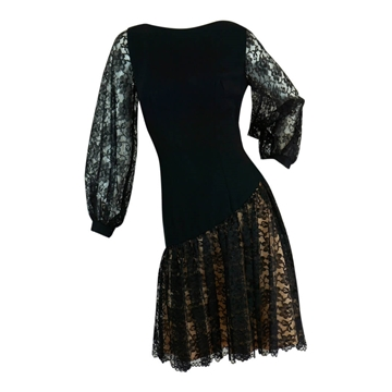 Vintage 1960s Lace black Cocktail Mini Dress