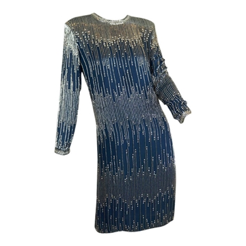 Victoria Royal 1980s Rhinestone & Bead blue grey vintage Dress