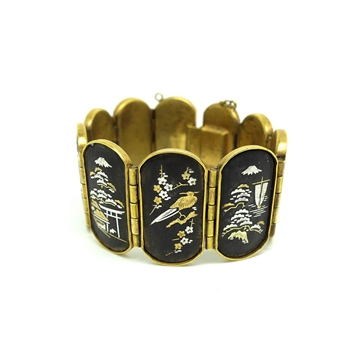 VINTAGE ART DECO 1920'S 24CT GOLD DAMASCENE SHAKUDO JAPANESE BRACELET