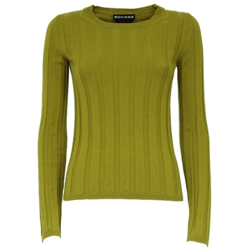 Rochas ribbed Cashmere bright green vintage jumper