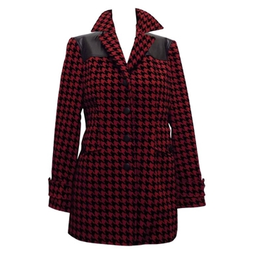 Moschino Couture 1980s Houndstooth Red Vintage Jacket
