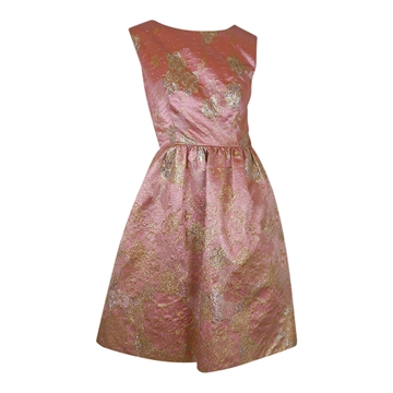 Vintage 1960s Metallic Brocade pink vintage Cocktail Dress