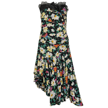 EMANUEL UNGARO 1980s Floral asymetric black vintage Cocktail Dress