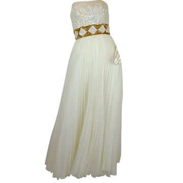 Mike Benet 1960s Strapless Pleated white vintage Maxi Dress