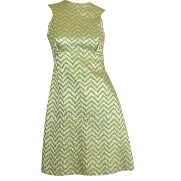 Vintage 1960s Mod Green & Gold Metallic Chevron Mini Dress