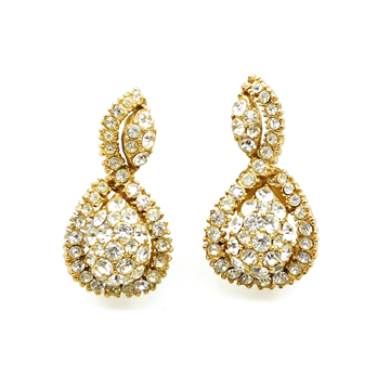 Christian Dior Mitchel Maer 1950s Gold Tone & Crystal vintage Earrings