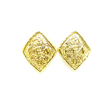Givenchy 1980s Monogrammed Gold Plated vintage Earrings