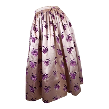 Vintage 1950s Silk & Flocked Velvet Floral  mauve purple Skirt