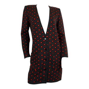 Valentino 1980s Polka Dot Charcoal & Red vintage long cardigan