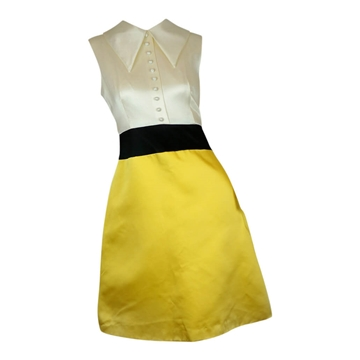Calderon 1960s Color-Block Mod yellow vintage Cocktail Dress