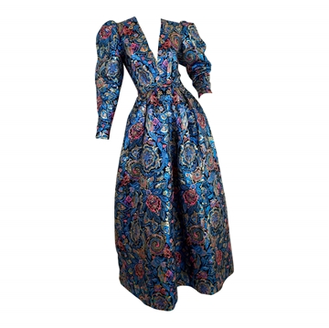 Leonard 1970s Metallic Brocade blue vintage Evening dress