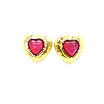 Edouard Rambaud 1980s Heart red & gold Vintage Earrings