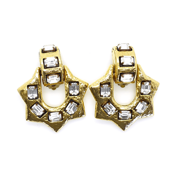 Scooter 1980s Large Spike Gilt & Crystal Vintage Earrings