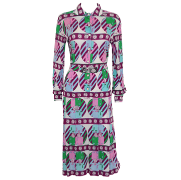 EMILIA BELLINI 1970s Printed Silk vintage dress