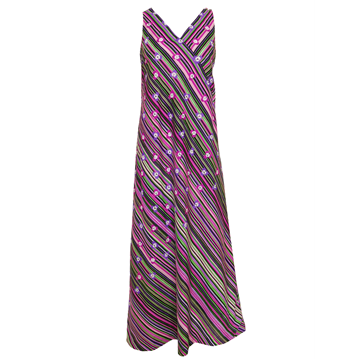 PIERRE BALMAIN c1970 Silk stripe & flowers purple vintage Maxi Dress