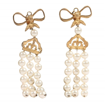 Chanel 1980S three Strand Hanging Faux Pearl vintage Earrings