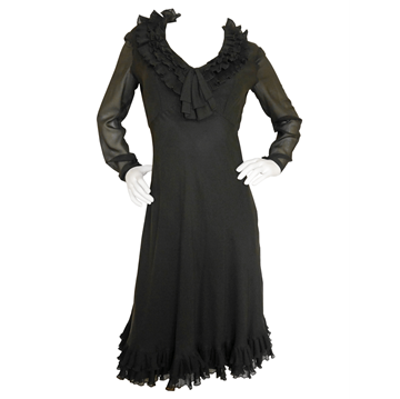 GEORGES KAZAZIAN 1960s Couture Ruffled Silk brown vintage Dress