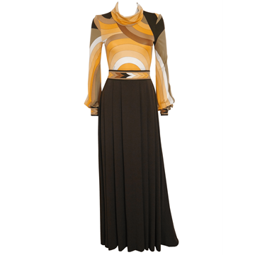 LEONARD c1973 Documented silk black & yellow vintage Evening Dress