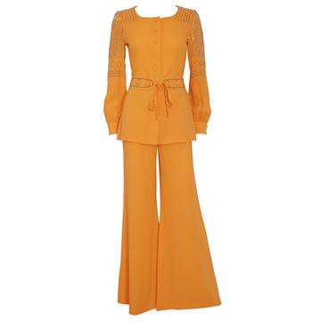 LOUIS FÉRAUD 1960s 1970s Beaded orange vintage Evening Suit