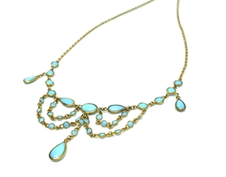 ANTIQUE EDWARDIAN TURQUOISE GLASS FRENCH NECKLACE