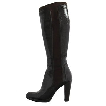 Sergio Rossi Patent leather brown vintage knee high boots
