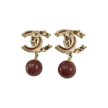 Chanel Paris-Bombay Collection Gripoix logo drop red vintage Earrings