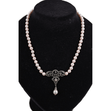 Vintage Italian Freshwater Pearl & Marcasite necklace