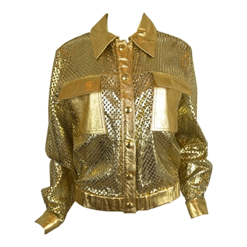 1980s Metallic Perforated Leather gold vintage Jacket
