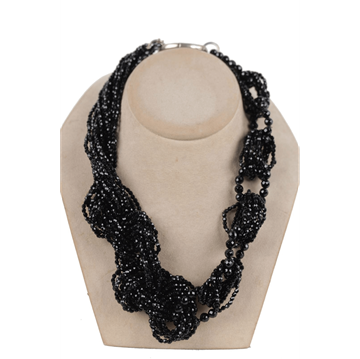 Vintage Faceted Onyx braided black Statement Necklace