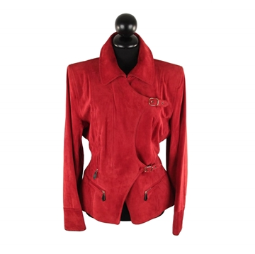 Hermes suede Buckled red vintage jacket