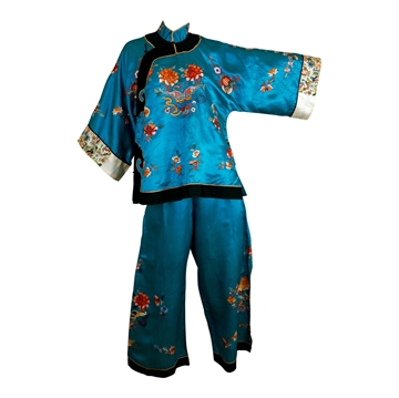 Vintage 1930s Asian Embroidered blue Jacket & Pants Suit