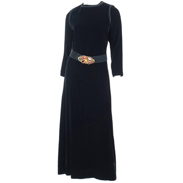 Yves Saint Laurent Rive Gauche 1970s Belted Velvet Black Vintage Maxi Dress