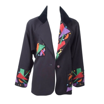 Chloe 1980s Jewelled and Embroidered Velvet Collar Black Vintage Jacket