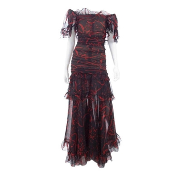 Yves Saint Laurent Rive Gauche 1980s Silk Chiffon Red and Black Vintage Evening Dress