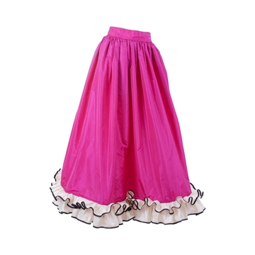 Yves Saint Laurent Rive Gauche 1980s Silk Taffeta Flounced Hem Hot Pink Vintage Evening Skirt