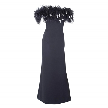 Yves Saint Laurent Rive Gauche 1990s Ostrich Feathered Neckline Silk Black Vintage Gown