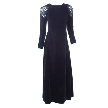 Valentino Boutique 1970s Butterfly Shoulder Velvet Black Vintage Gown
