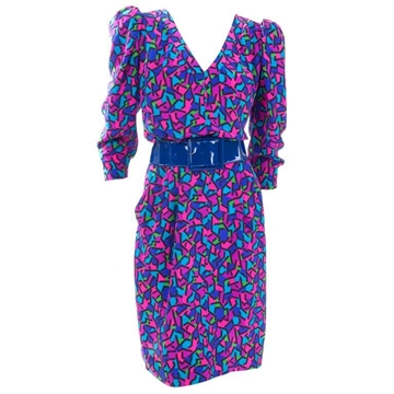 Yves Saint Laurent Rive Gauche 1990s Silk Pink and Blue Vintage Midi Dress
