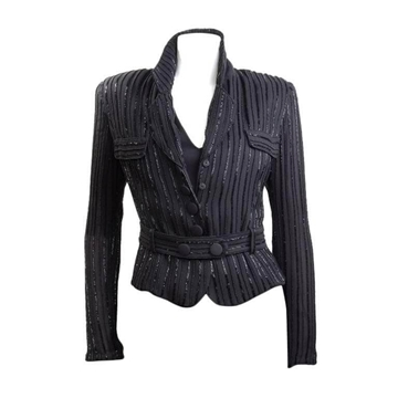 Giorgio Armani 1990s Beaded Striped Black Vintage Jacket